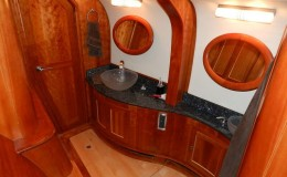 74′ Power Catamaran Internal bathroom